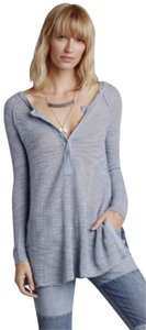Free People Super Soft Split Hem Lightweight Top Blue
