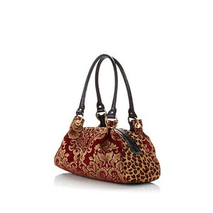 Clever Carriage Company Satchel in Burgundy/Leopard