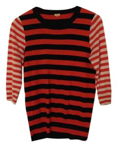 J.Crew Cotton Stripes Orange Sweater