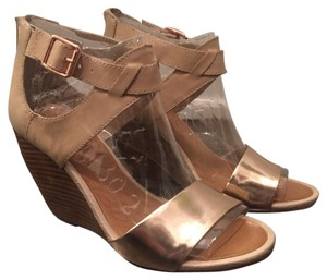 Seychelles rose gold/vachetta leather Wedges