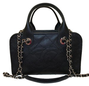 Chanel Leather Cavier Satchel in Black
