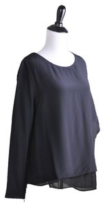 AllSaints Roder Silk Layers Silhouette Top Black