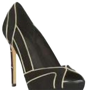 BCBGMAXAZRIA Peep Toe Stiletto Black and Gold Pumps