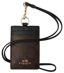 Coach NEW COACH Signature Card Case employee I.D Tag holder Lanyard Badge