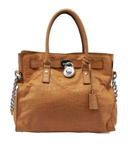 Michael Kors Hamilton Crocodile Large Tote in Luggage