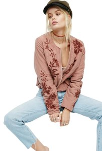 Free People Luxury Silk Velvet Embroidered Rose Jacket
