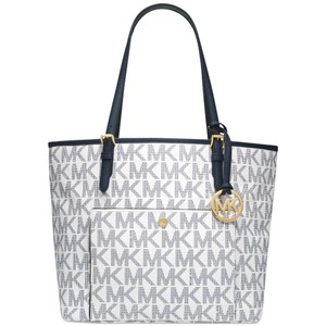 Michael Kors Signature Leather Tote in White/Blue