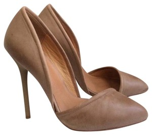 L.A.M.B. Leather Classic D'orsay Heels Nude Pumps