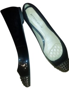 Antonio Melani Elegant Chic Bling Pewter Stud and Black Patent Flats