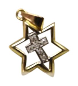 14kt Yellow Gold and Diamond Cross Nice Diamond Cross inside Star