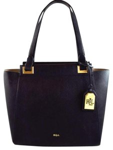 Ralph Lauren Carlile Black Satchel in White