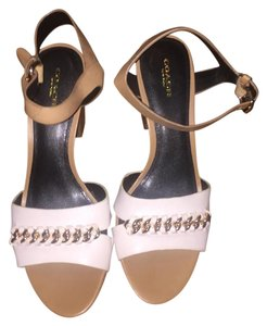 Coach Summer Chain Leather Bicolor White and Tan Sandals