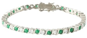 ** NWT ** 14K WHITE GOLD EMERALD GREEN ( S-SHAPE ) TENNIS BRACELET