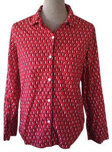 Victoria's Secret Button Down Shirt Red, Black, White