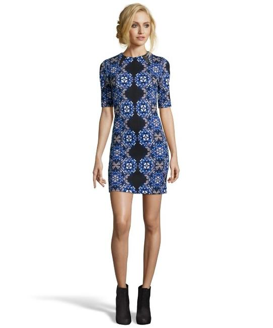 Taylor Black Pattern Print Short Sleeve Short Mod Modern Dress
