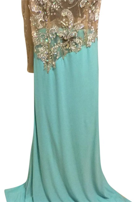 Item - Turquoise and Nude Long Formal Dress Size 12 (L)