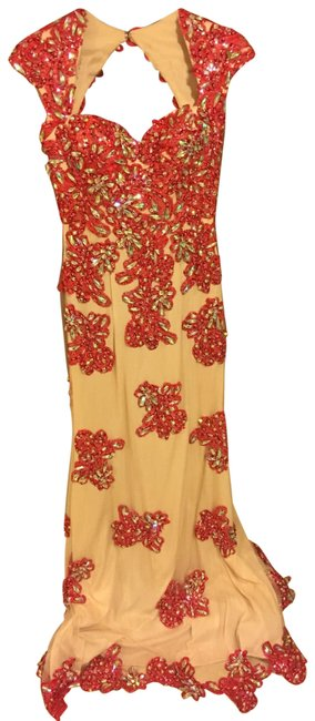 Item - Red Nude Long Formal Dress Size 8 (M)