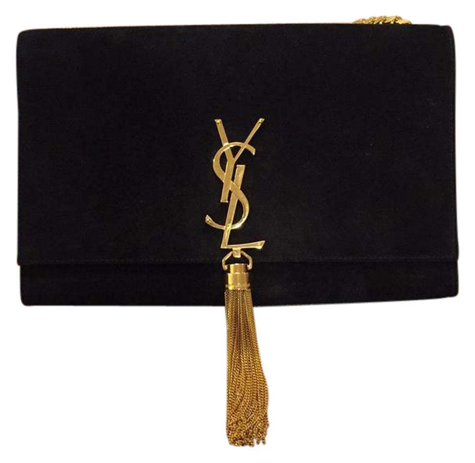 Saint Black Monogram Suede Shoulder Bag Laurent Tassel Ysl 8HvnzW8