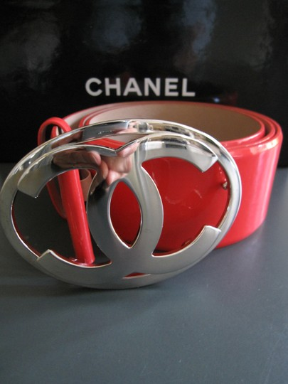 Chanel 85CM AUTH. PATENT LEATHER CHANEL BELT CC LOGO EXCELLENT