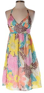 MILLY short dress yellow pink brown blue on Tradesy