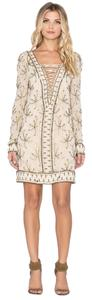 Free People short dress beige Lace Up Beaded on Tradesy