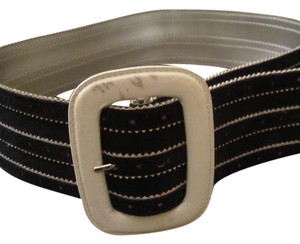 Escada Black and White Suede and Leather Belt
