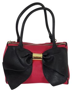 Betsey Johnson Betsy Purse Satchel in Red, Black with Gold