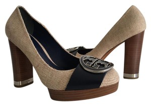Tory Burch CANVAS AND NAVY BLUE Platforms