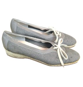 Salvatore Ferragamo Wedge Espadrille Light Grey Wedges