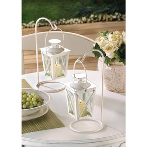 12- White Mini Candle Lanterns