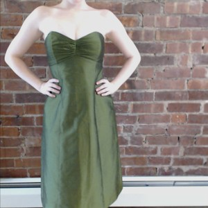 Jenny Yoo Green Eastern Silk Shantung Dress