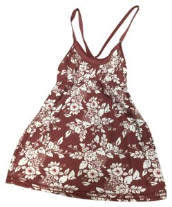 Abercrombie & Fitch Lace Cross Back Baby Doll Top Red floral
