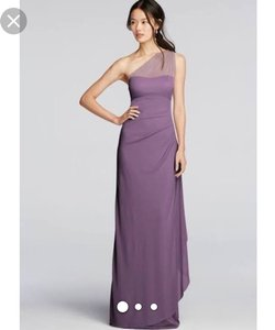 David's Bridal Wisteria Long Mesh One Shoulder Illusion Dress Dress