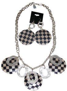 Carlos Falchi NWT Checkerboard Shell Necklace and Earrings