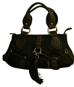Kate Landry Leather And Rabbit Satchel in Brown