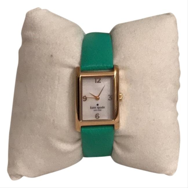 Item - Gold Green New Leather Band Mother Of Pearl Face Watch