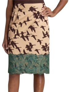 Anthropologie Pencil Lace Print Skirt Tan, Brown, Green