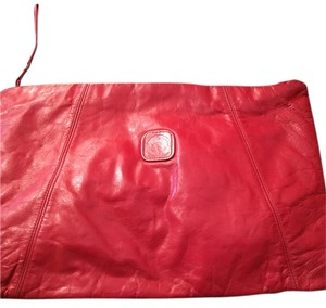 red leather red Clutch
