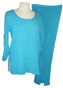JEWEL QUEEN PANTSUIT M NWT BY JEWEL QUEEN GAUZE COTTON $44 TURQUOISE