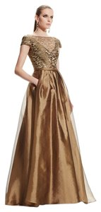 Theia Metallic Lace Ball Gown Dress