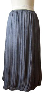 J. Jill Silk Bubble Gauze Long Pleats Skirt Gray