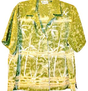 Joanna Polyester Bamboo Buttoned Button Down Shirt Green and Beige