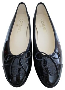 Chanel Patent Leather Logo Black Flats