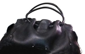 Cole Haan Leather Silver Hardware Satchel in black