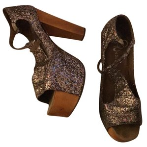 Jeffrey Campbell multi color glitter and brown wood Platforms