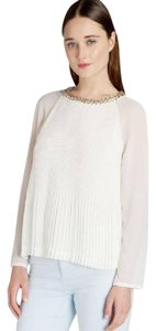 Ted Baker Embellished Neckline Pleated Shear Long Sleeve Beaded Neckline Top Ivory