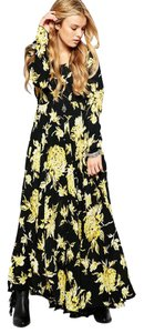 Black, Yellow Maxi Dress by Free People Rare Sold Out Floral First Kiss