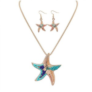 New Starfish Necklace Earrings Set Gold Tone Blue J3089