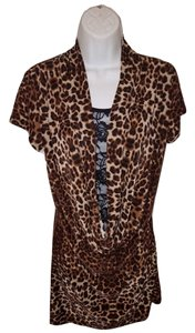 DC Shoes Cheetah Plunging Neckline Lace Stretchy Dress