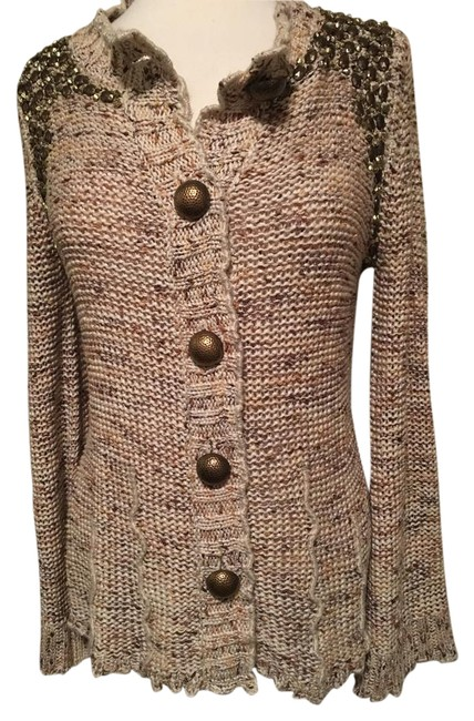 Item - Tan Multi Gold Studded Flared Sleeves Gold Buttons Loose Knit Cardigan Size 12 (L)